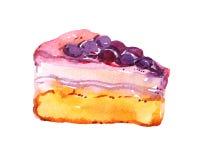 Tarta, torta con las bayas gelatinadas, aisladas en el fondo blanco, ejemplo de la acuarela Foto de archivo