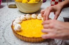 Tarta y merengues de Yuzu Fotografía de archivo