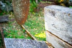 Tartaczna kurenda Zobaczył ławkę i tramwaj zdjęcia stock