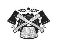 Tartak, powalać loga Woodwork, joinery, ciesielki ikona lub etykietka, również zwrócić corel ilustracji wektora royalty ilustracja