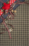 Tartan background texture with polka dots and red ribbon Royalty Free Stock Images