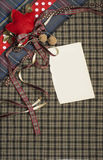Tartan background texture with polka dots and red ribbon Royalty Free Stock Photography