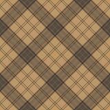 Tartan brown beige seamless fabric texture Stock Image