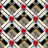 Tartan con il modello senza cuciture del tessuto tradizionale nero del tartan della pelle del leopardo e della rosa rossa, vettor illustrazione di stock