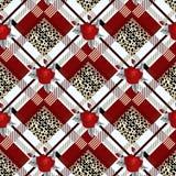 Tartan con il modello senza cuciture del tessuto tradizionale nero del tartan della pelle del leopardo e della rosa rossa, vettor illustrazione vettoriale