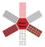 Tartan designs. Six tartan designs arranged around a hexagon Stock Photos