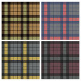 Tartan fabric seamless pattern, set Stock Photos
