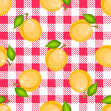 Tartan plaid with apricots seamless pattern. Kitchen pink checkered tablecloth fabric background Vector Illustration