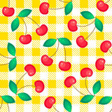 Tartan plaid with cherries seamless pattern. Kitchen yellow checkered tablecloth fabric background Stock Illustration