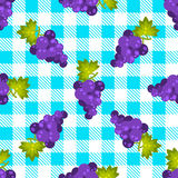 Tartan plaid and grapes seamless pattern. Kitchen blue checkered tablecloth fabric background Stock Illustration
