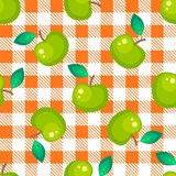 Tartan plaid and green apple seamless pattern. Kitchen orange checkered tablecloth fabric background Stock Illustration