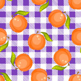 Tartan plaid with peaches seamless pattern. Kitchen purple checkered tablecloth fabric background Stock Illustration