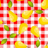 Tartan plaid with pears seamless pattern. Kitchen red checkered tablecloth fabric background Stock Illustration