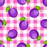 Tartan plaid with plums seamless pattern. Kitchen pink checkered tablecloth fabric background Stock Illustration