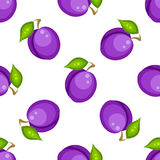 Tartan plaid with plums seamless pattern. Kitchen purple checkered tablecloth fabric background Stock Illustration