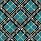 Tartan plaid print. Checkered fabric texture in robin egg blue, black and gray. Seamless pattern. royalty free illustration