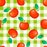 Tartan plaid and red apple seamless pattern. Kitchen green checkered tablecloth fabric background Stock Illustration