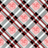 Tartan plaid seamless pattern. Red and black color. Watercolor seamless vector illustration