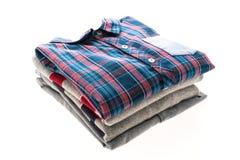 Tartan or Plaid shirt. Isolated on white background Royalty Free Stock Photos