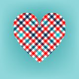 Tartan red blue white checkered heart on blue card template, vector royalty free illustration