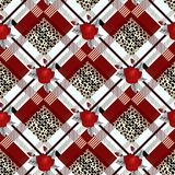 Tartan with Red rose and black leopard skin tartan traditional fabric seamless pattern, vector eps10 vector illustration