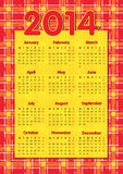 Tartan scottish style calendar 2014. Red Tartan scottish style calendar 2014 in english stock illustration