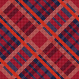 Tartan seamless diagonal texture in red and blue Stock Photos