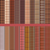Tartan. Set of twenty Scottish patterns in shades of chocolate brown Royalty Free Stock Photography