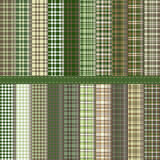 Tartan. Set of twenty Scottish patterns in shades of green and brown Stock Photography
