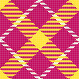 Tartan texture. Pink, yellow and white diagonal  tartan fabric texture. Seamless pattern. Vector illustration Royalty Free Stock Images