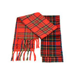 Tartan winter scarves with fringe. Royalty Free Stock Photography