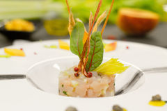 Tartar with amberjack, celery and food garnish Stock Photography