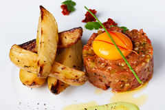 Tartar Beef with Fried Potato Stock Photo