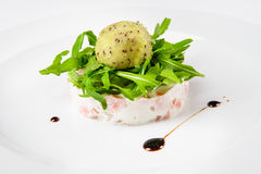 Tartar from salmon with creamy pine-nuts, kiwi and lemon sorbet. Royalty Free Stock Images