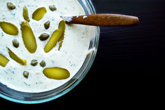 Tartar sauce with pickles and capers Stock Images