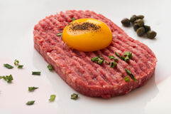 Tartar steak with egg and capers Stock Image