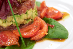 Tartar with tuna, avocado and tomatos Royalty Free Stock Images
