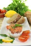 Tartare de color salmón fresco Fotografía de archivo libre de regalías