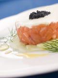 Tartare de la crème saumonée sauvage Fraiche Photographie stock libre de droits