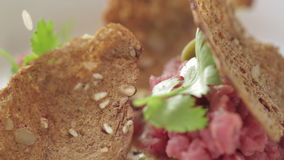 Tartare Meat with Herbs and Croutons stock video