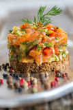 Tartare with salmon, green onions and capers. Royalty Free Stock Photos