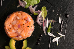 Tartare with salmon and onion Royalty Free Stock Photo
