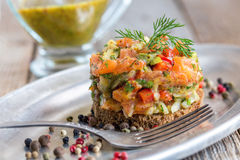 Tartare with salmon. Stock Images