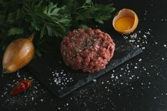 Tartare steak. Beef raw chopped meat with spices, herbs and egg yolk. Fresh, spicy, delicious, gourmet meal on dark Royalty Free Stock Image