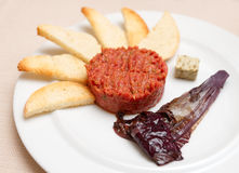 Tartare with toasts and chicory cooked in wine Stock Image