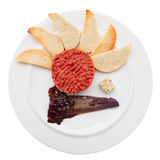 Tartare with toasts and chicory cooked in wine Stock Photos