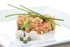 Tartaro del salmone del ristorante Fotografia Stock