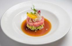 Tartaro di color salmone, alimento gastronomico Fotografia Stock Libera da Diritti