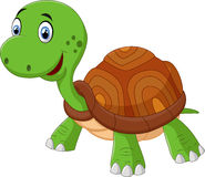 Tartaruga bonito dos desenhos animados, isolada no branco Imagens de Stock Royalty Free