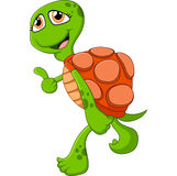 Tartaruga bonito dos desenhos animados que dá o polegar acima Imagens de Stock Royalty Free